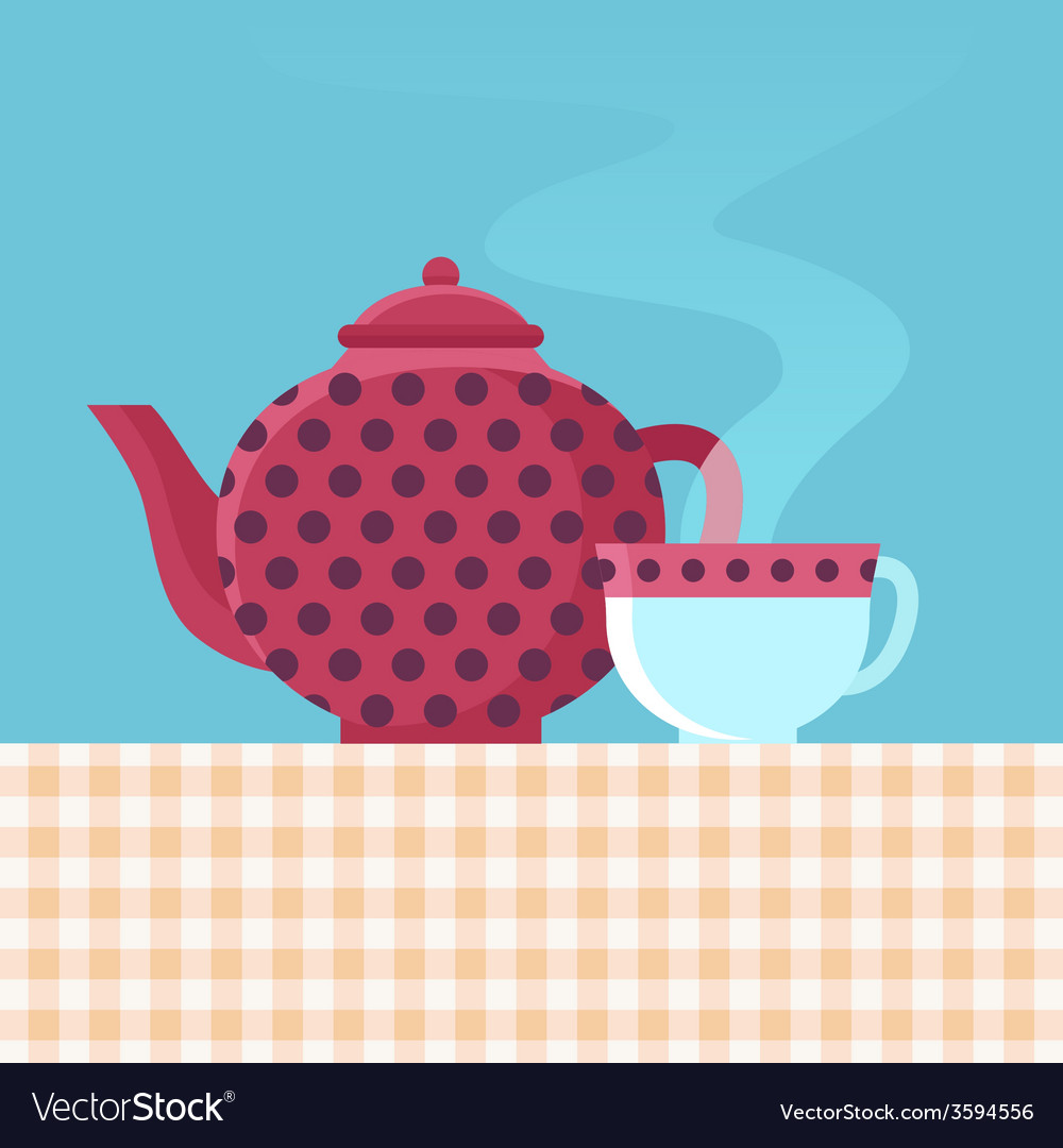 Tea pot and cup vector | Price: 1 Credit (USD $1)