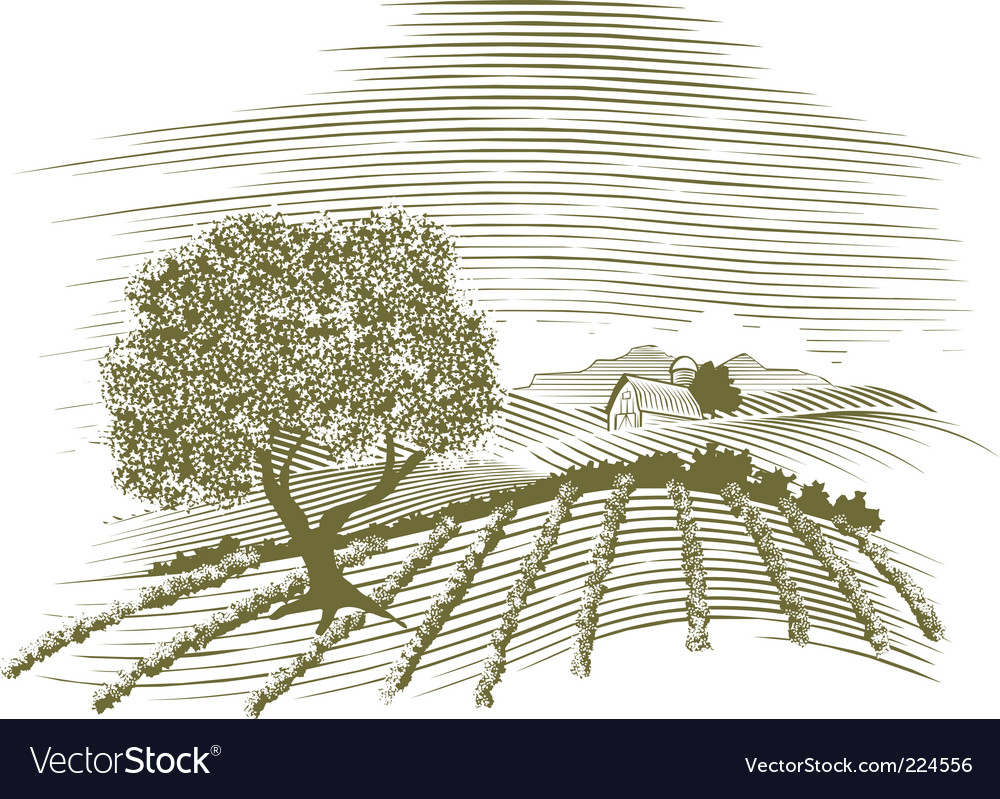 Woodcut farm scene vector | Price: 1 Credit (USD $1)