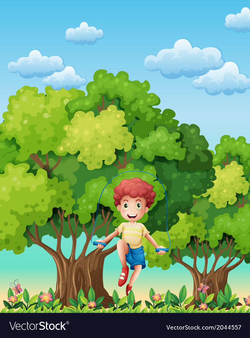 A boy playing with the skipping rope near the vector | Price: 3 Credit (USD $3)