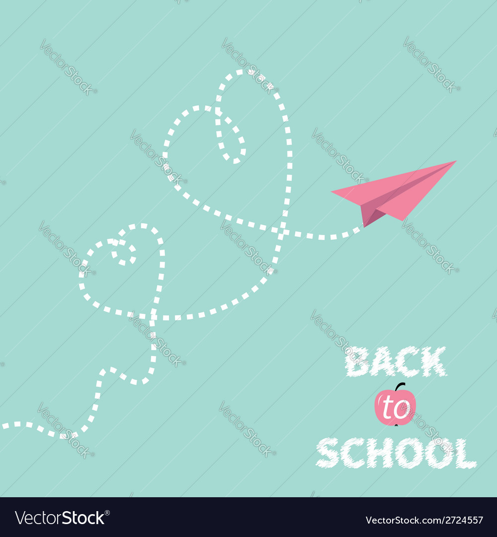 Back to school origami paper plane two dash heart vector | Price: 1 Credit (USD $1)
