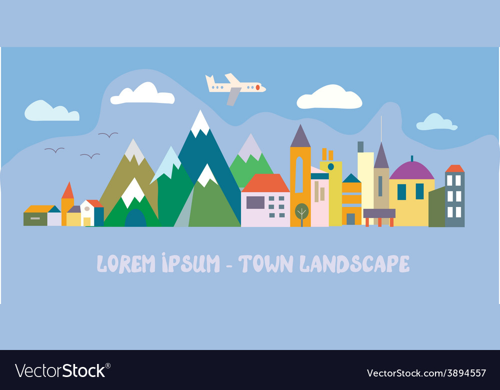 Banner with tourist town - funny vector | Price: 1 Credit (USD $1)