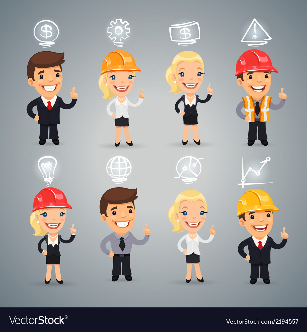 Businessmen with icons set vector | Price: 1 Credit (USD $1)