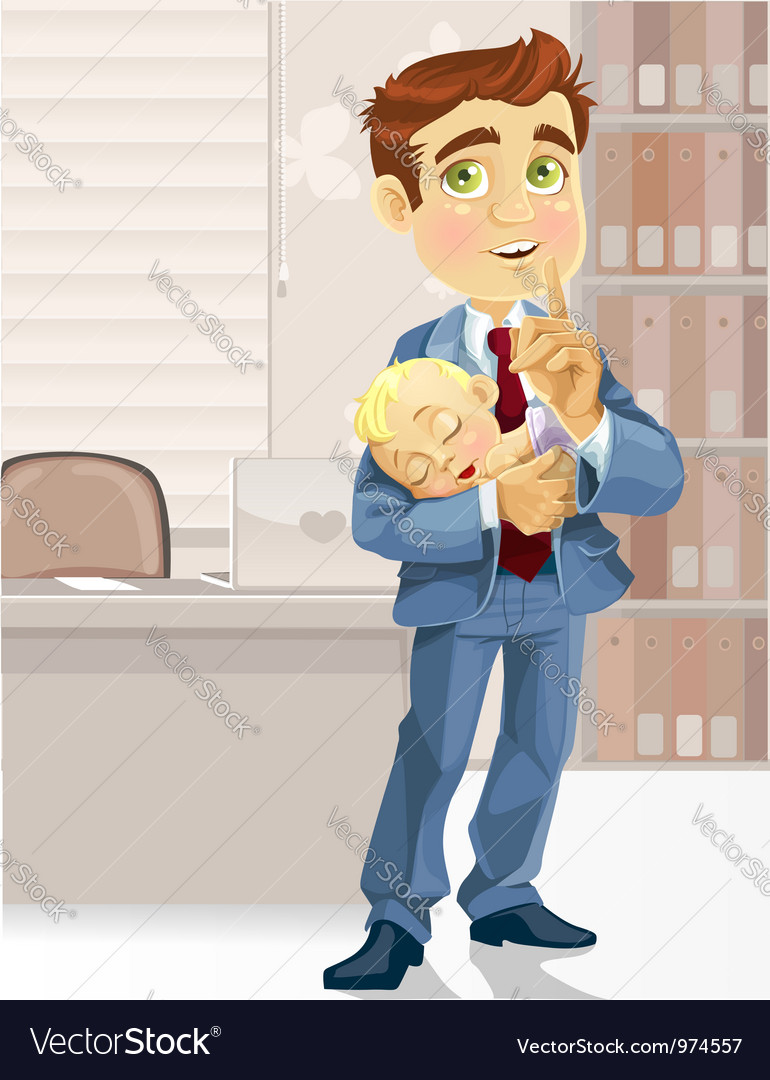 Cute business dad in the office with the sleeping vector | Price: 3 Credit (USD $3)