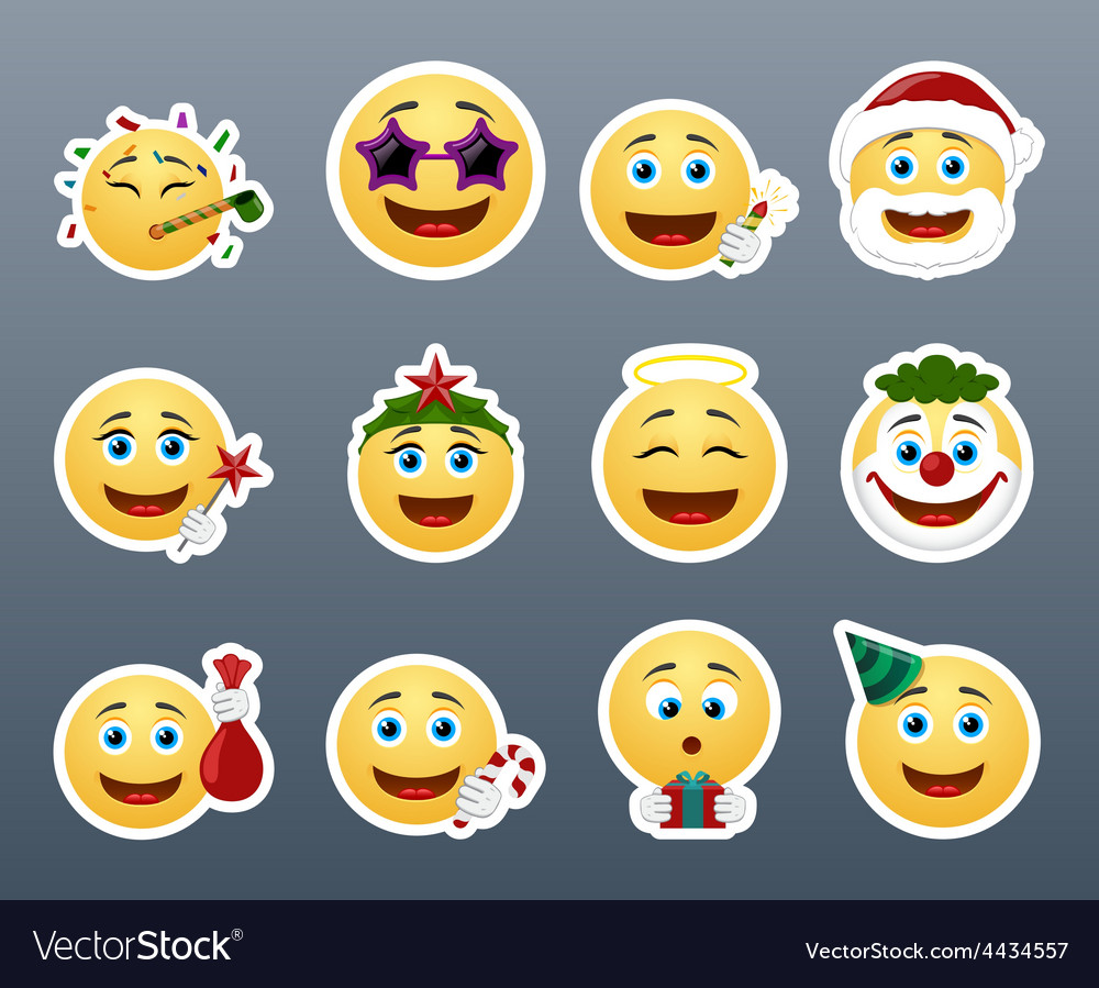 Funny holiday stickers vector   Price: 1 Credit (USD $1)
