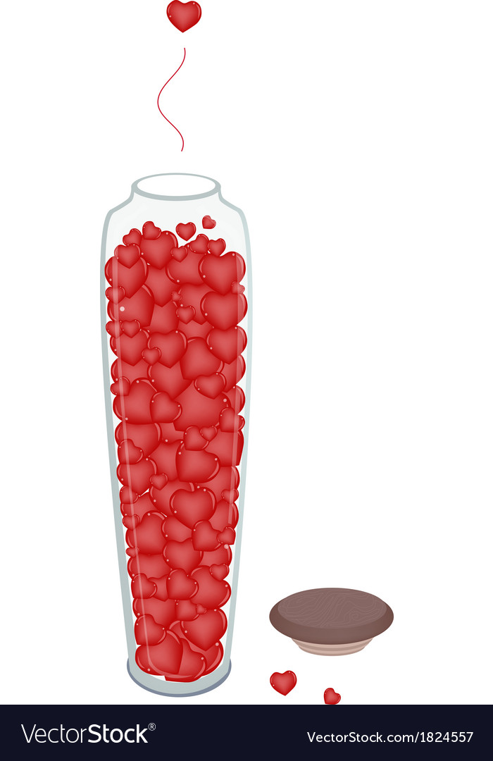 Lovely little hearts in tall glass jar vector | Price: 1 Credit (USD $1)