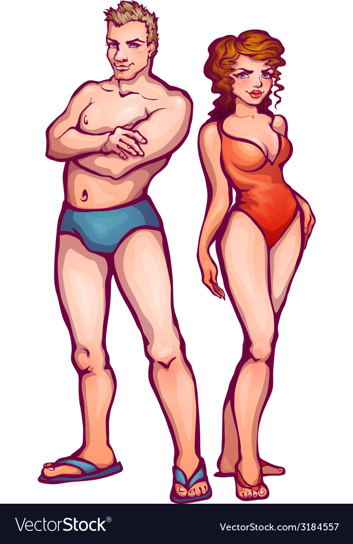 Man and women in swimsuit vector | Price: 1 Credit (USD $1)