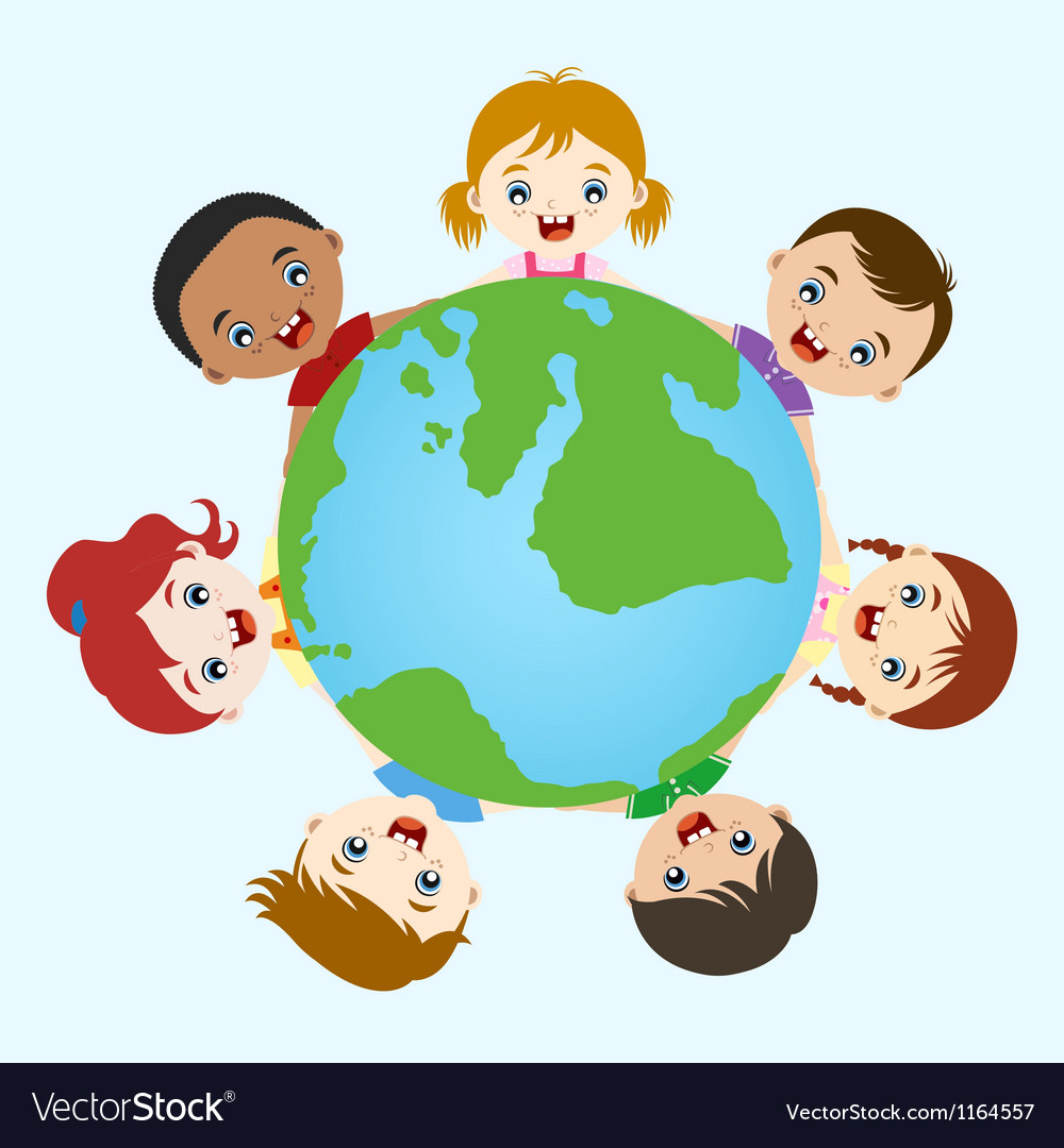 Multicultural children hand in hand on earth vector | Price: 1 Credit (USD $1)