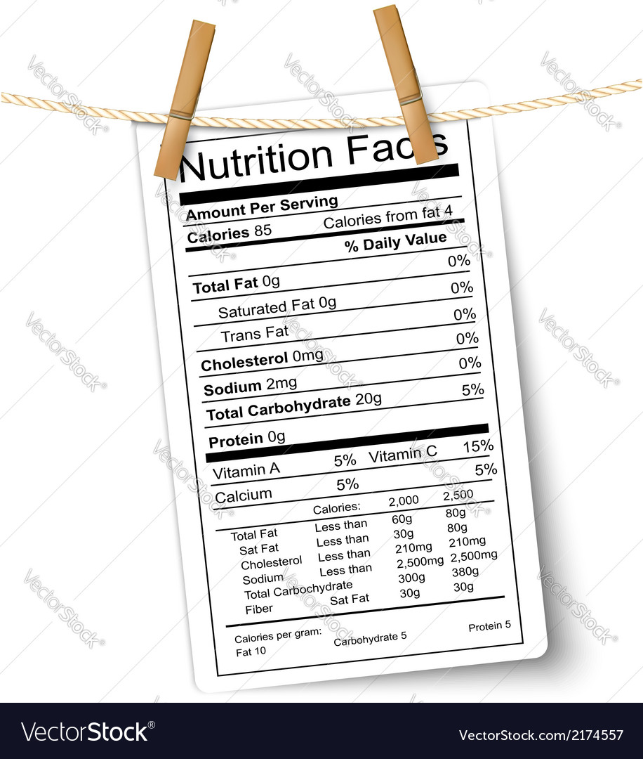 Nutrition facts label hanging on a rope vector | Price: 1 Credit (USD $1)