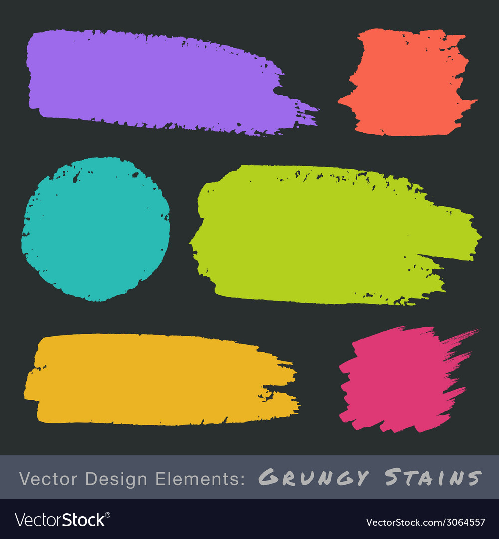Set of hand drawn flat grunge stains on dark backg vector | Price: 1 Credit (USD $1)