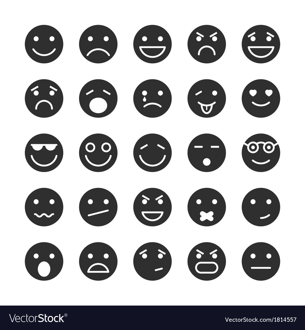 Smiley faces icons set of emotions vector | Price: 1 Credit (USD $1)