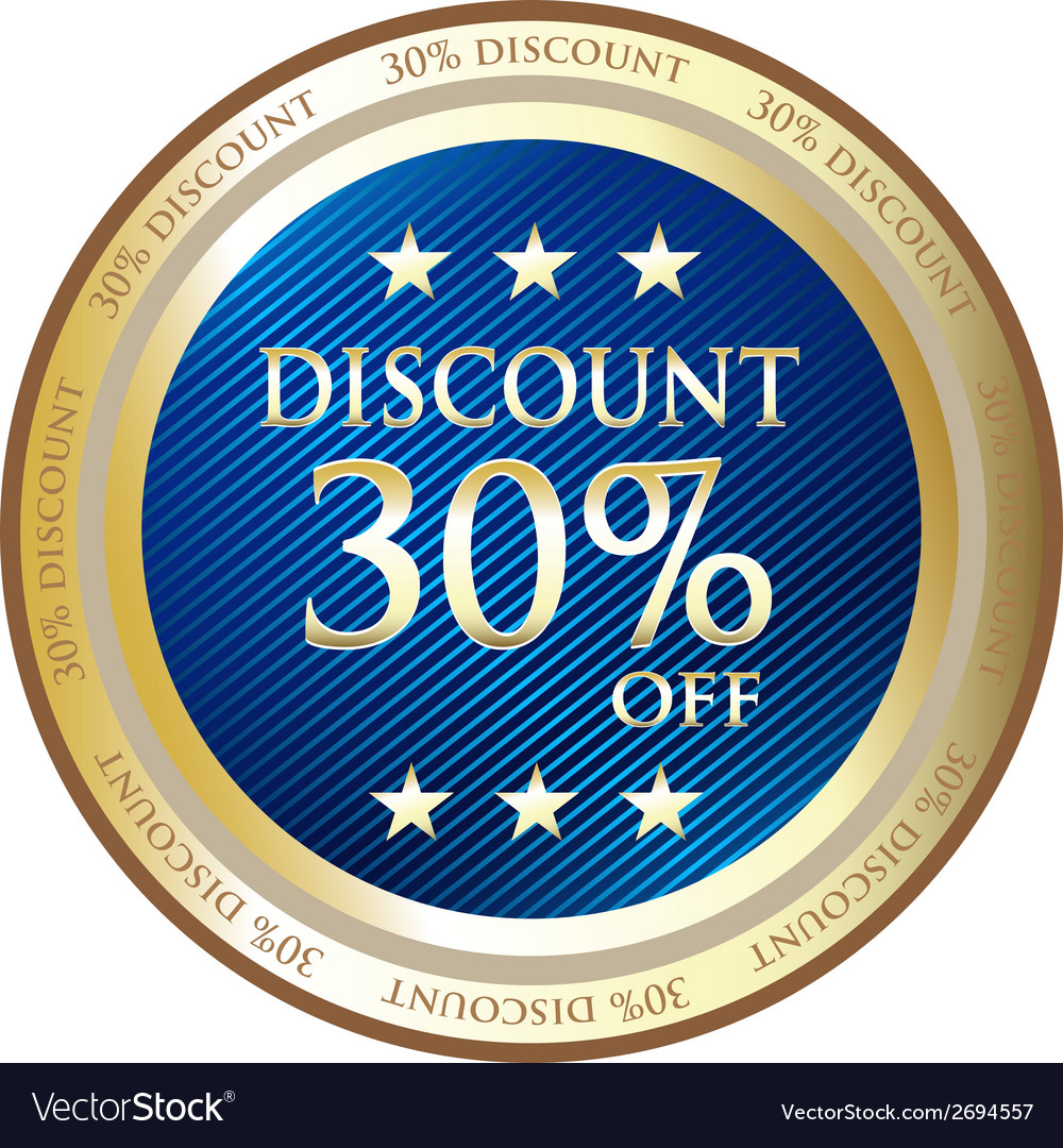 Thirty percent discount blue label vector | Price: 1 Credit (USD $1)