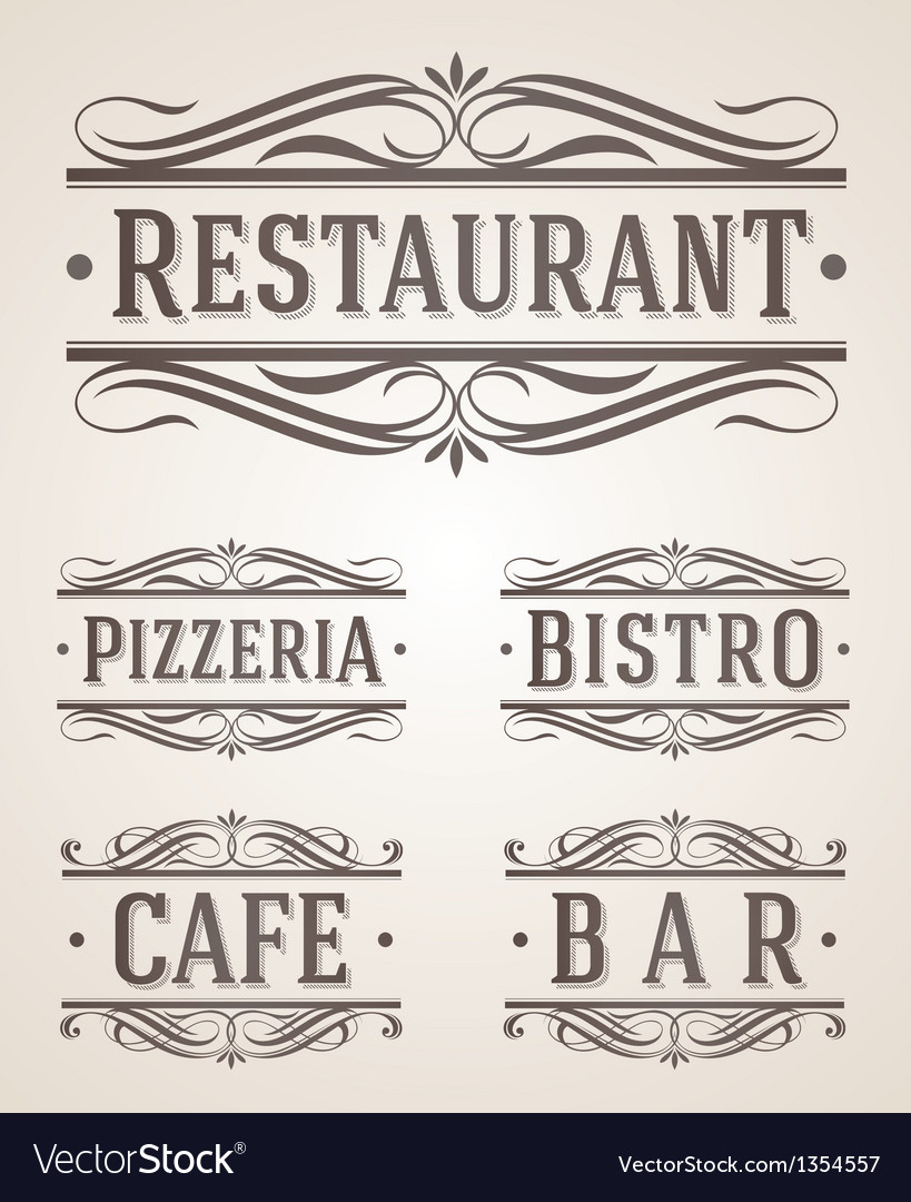 Vintage restaurant and cafe labels and signs vector | Price: 1 Credit (USD $1)