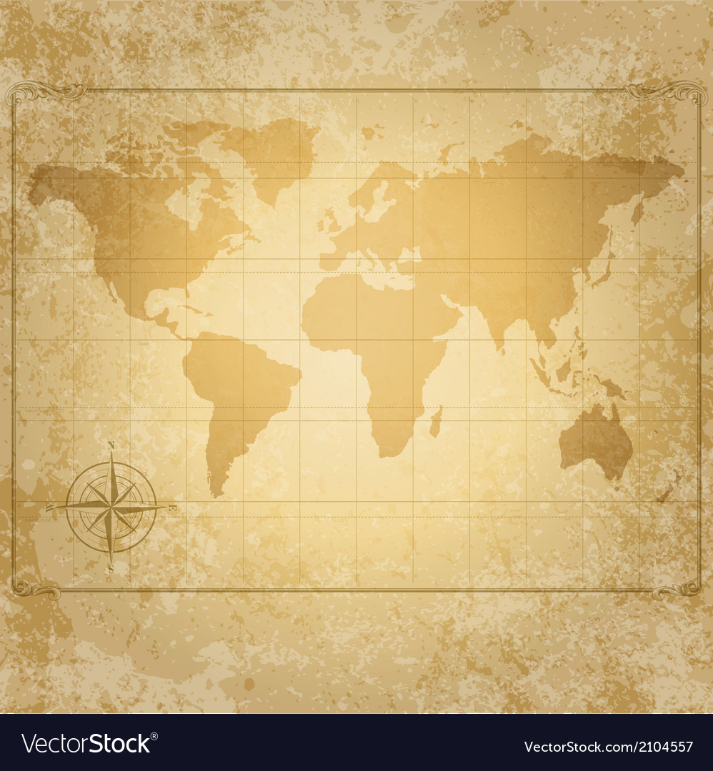 Vintage world map with compass vector | Price: 1 Credit (USD $1)