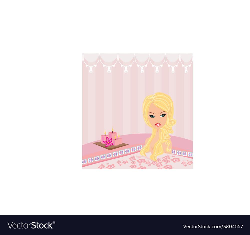 Woman bathing in bathtub in beautiful bathroom vector | Price: 1 Credit (USD $1)