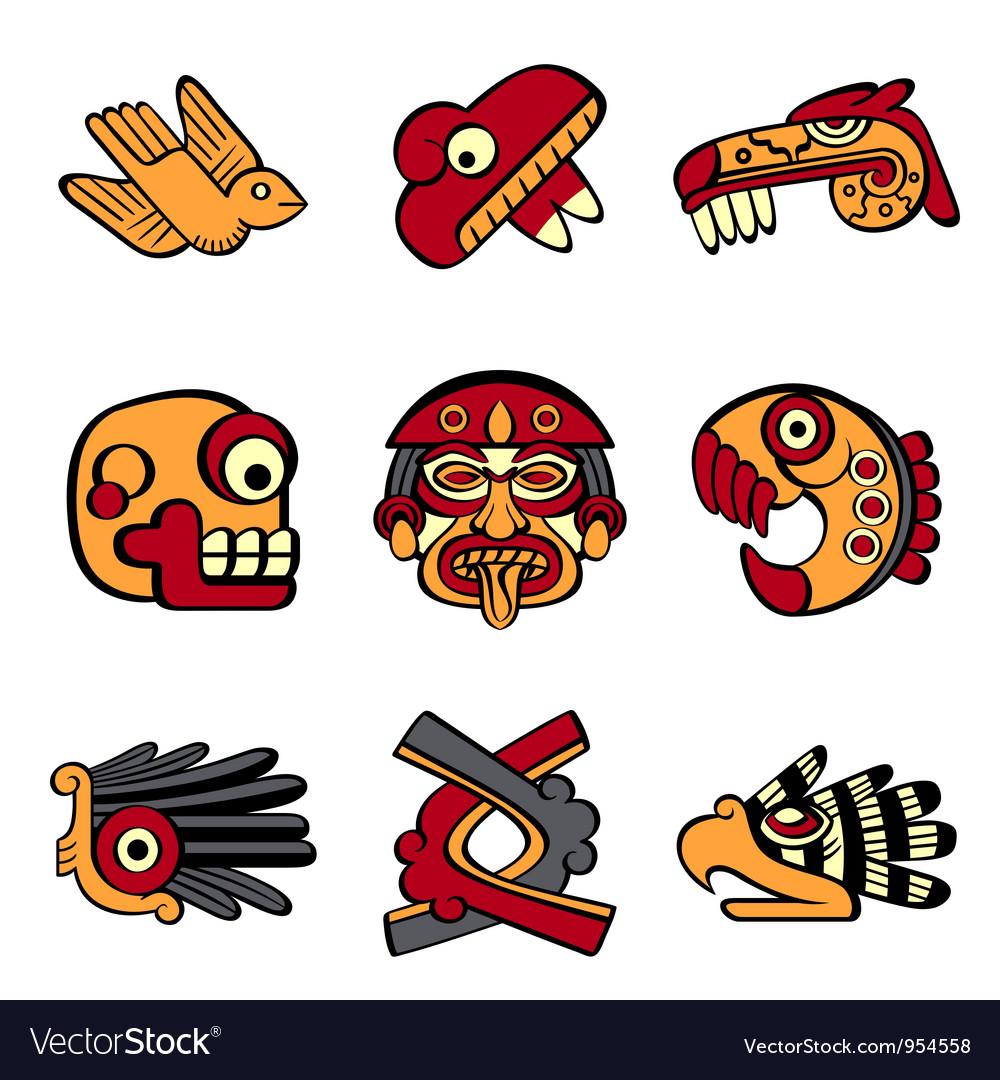 Aztec symbols vector