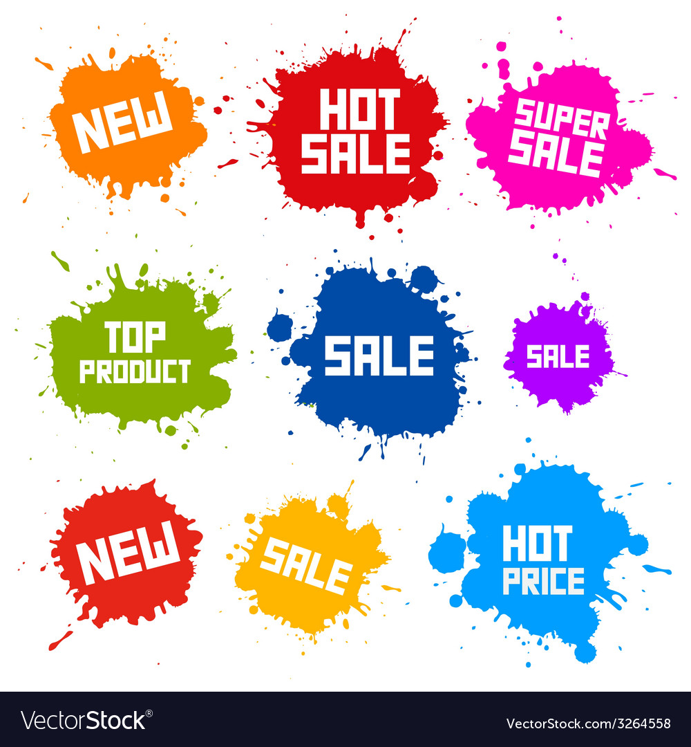 Business colorful icons - sale blots - splashes vector | Price: 1 Credit (USD $1)