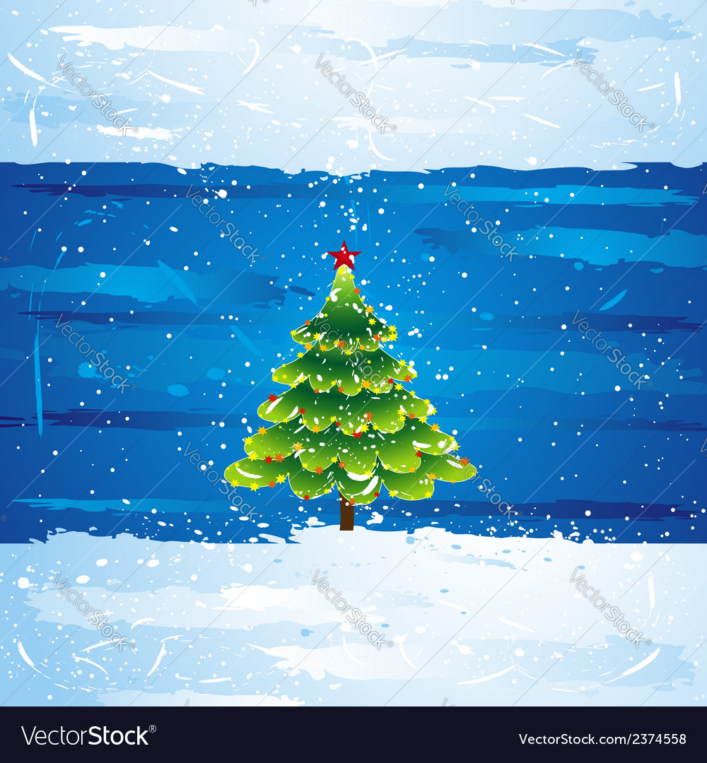 Green christmas tree over blue background vector | Price: 1 Credit (USD $1)