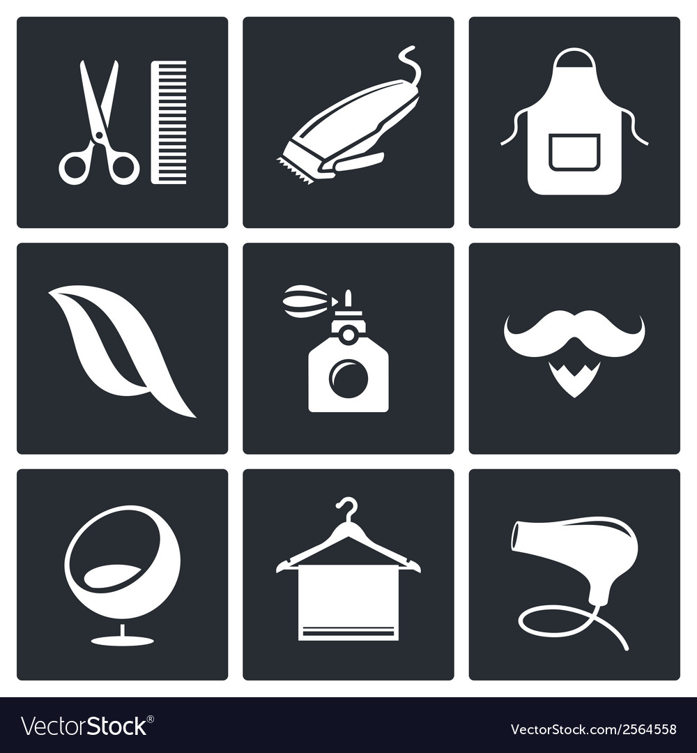 Hair salon icon collection vector | Price: 1 Credit (USD $1)