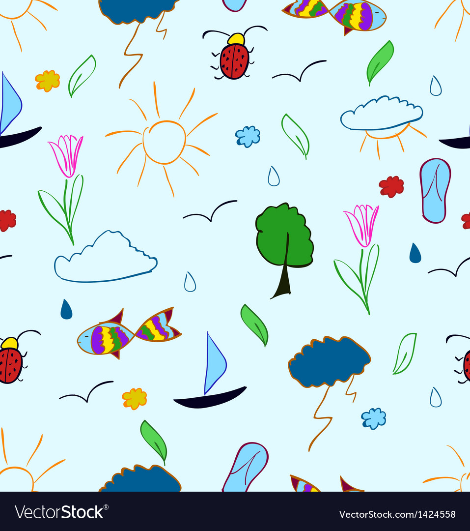 Hand draw summer holiday seamless pattern vector | Price: 1 Credit (USD $1)