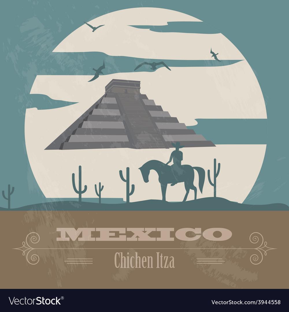 Mexico landmarks retro styled image vector | Price: 1 Credit (USD $1)