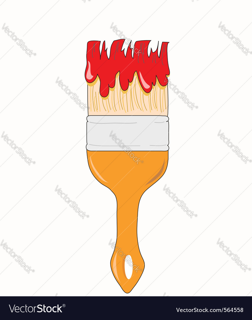 Paint brush in red paint vector | Price: 1 Credit (USD $1)