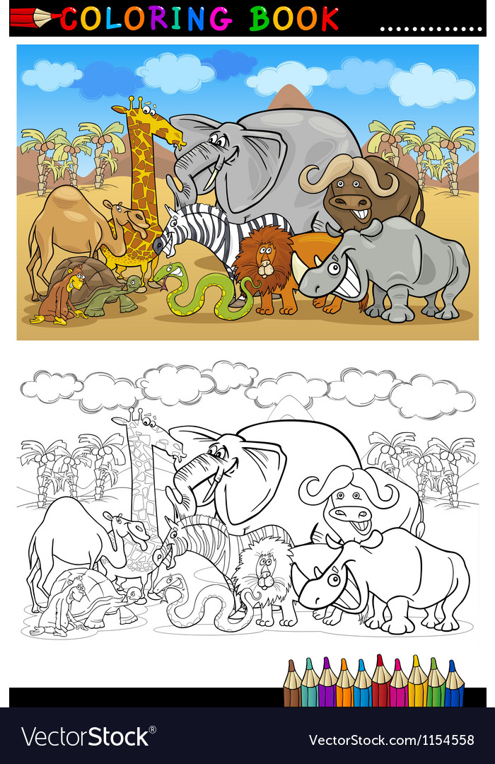 Safari wild animals cartoon for coloring book vector | Price: 1 Credit (USD $1)