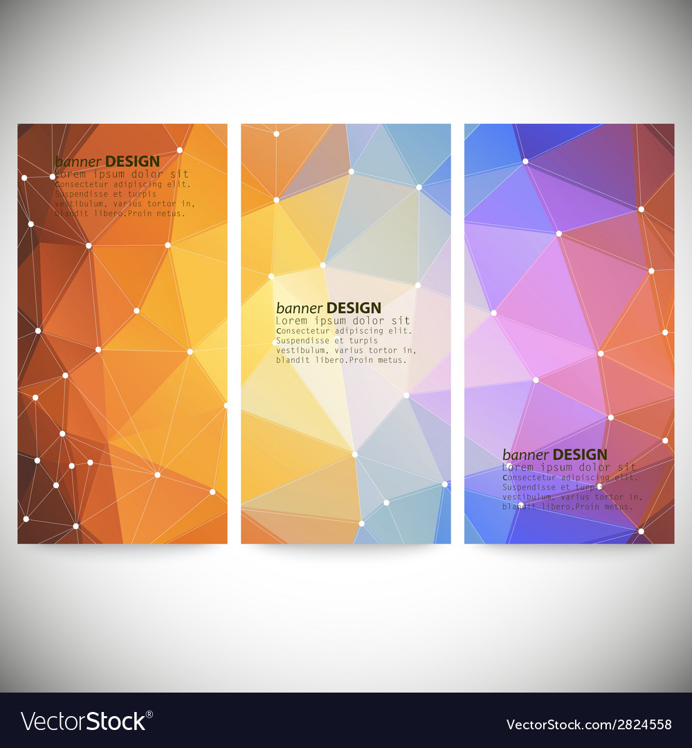 Set with polygonal abstract shapes circles lines vector | Price: 1 Credit (USD $1)