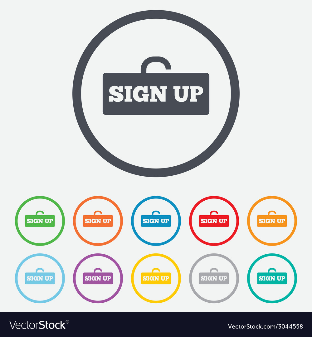 Sign up sign icon registration symbol vector   Price: 1 Credit (USD $1)