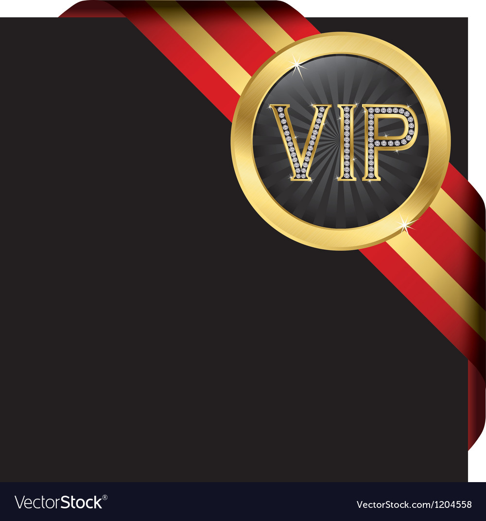 Vip gold ribbon label vector | Price: 1 Credit (USD $1)