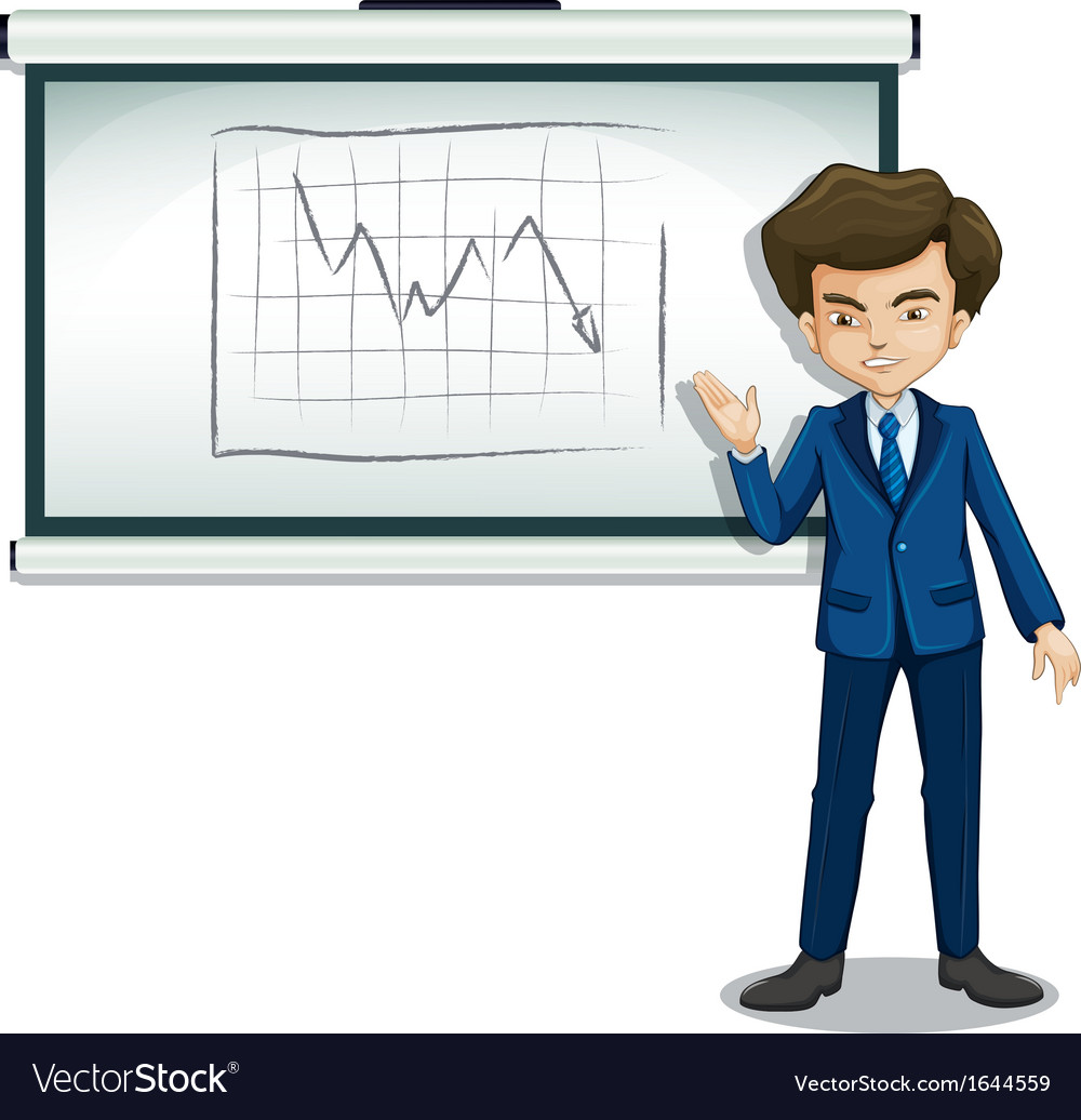 A businessman explaining the graph in the bulletin vector | Price: 3 Credit (USD $3)