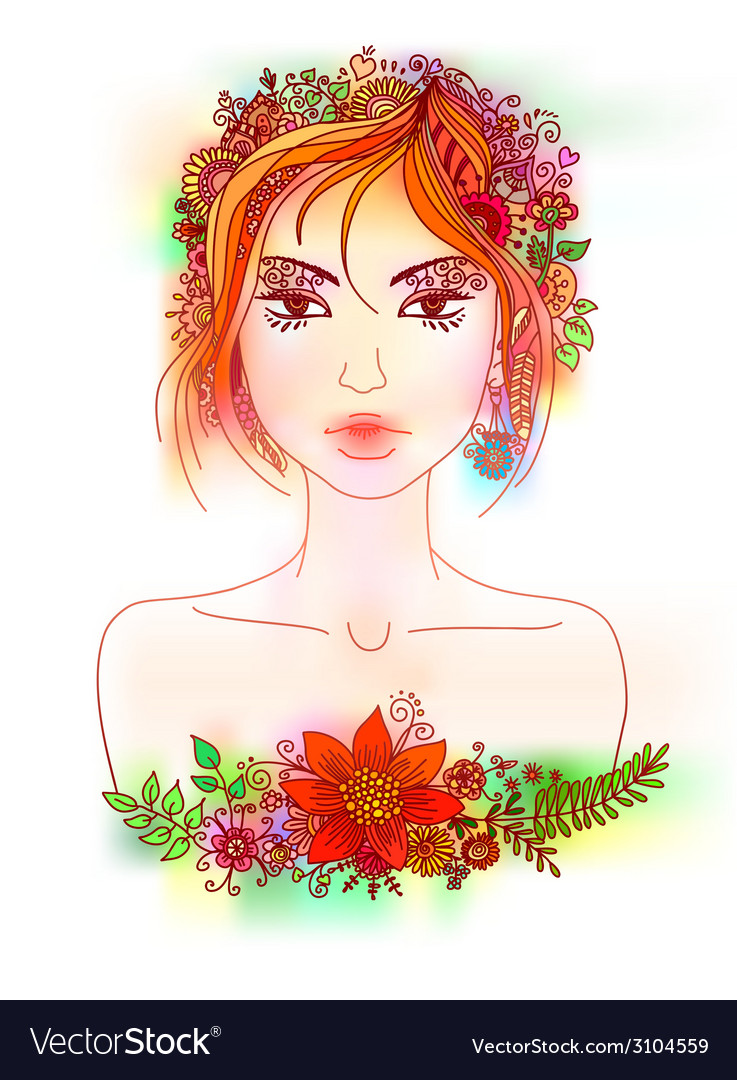 Beautiful girl with flowers in hair vector | Price: 1 Credit (USD $1)