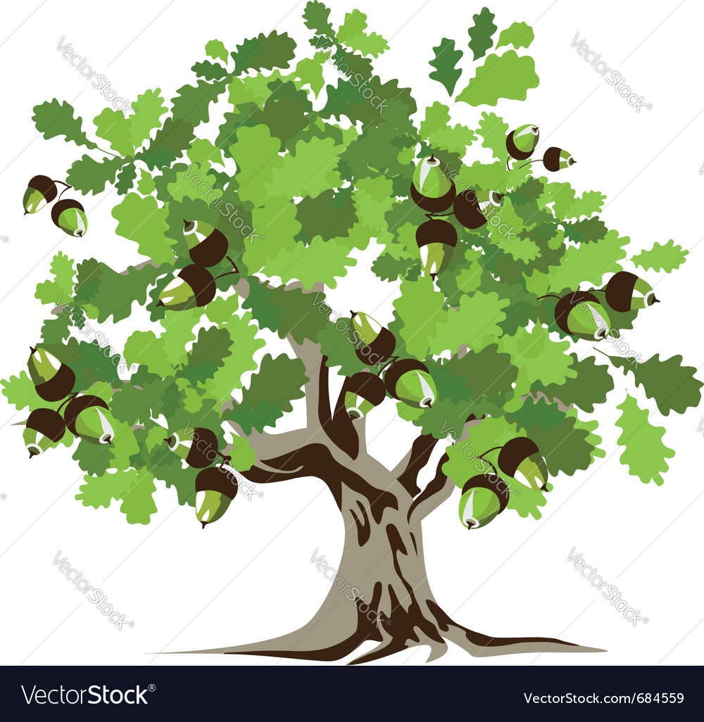 Big green oak tree vector | Price: 1 Credit (USD $1)