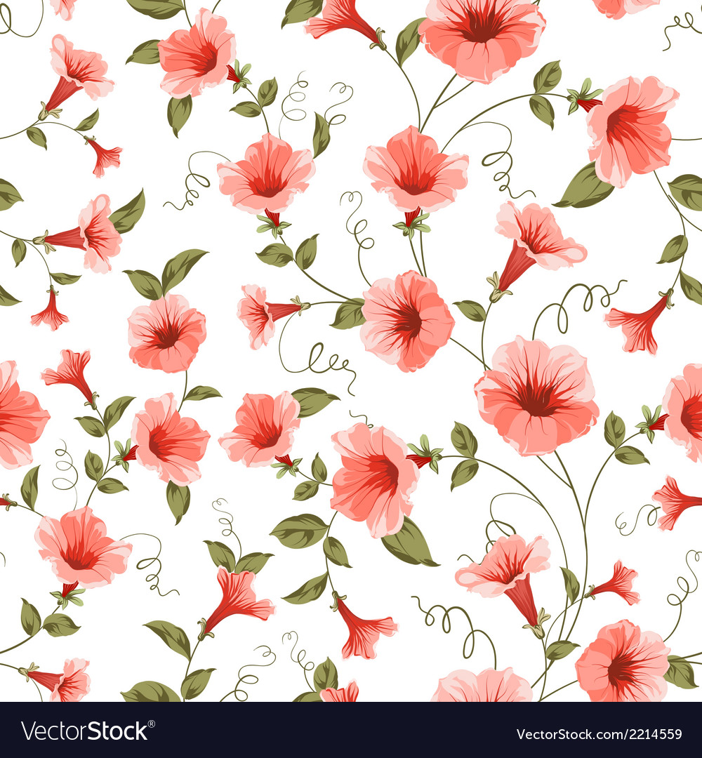 Bindweed  floral background seamless pattern vector | Price: 1 Credit (USD $1)