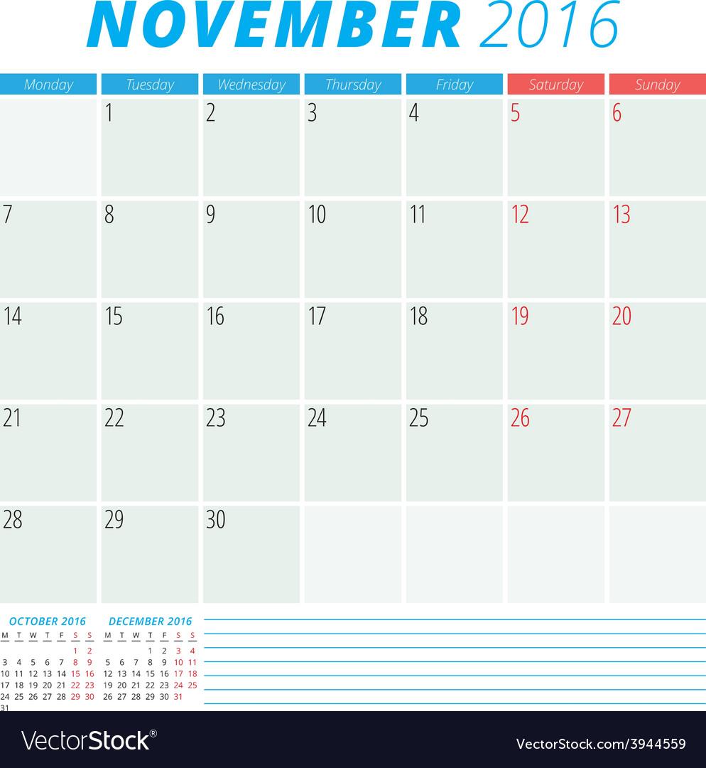 Calendar 2016 flat design template november week vector | Price: 1 Credit (USD $1)