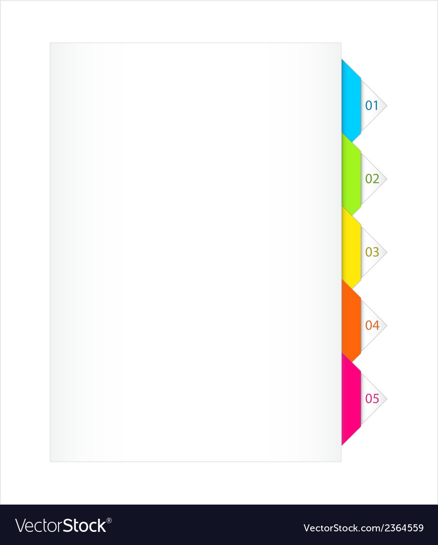 Colorful numbered bookmarks vector | Price: 1 Credit (USD $1)