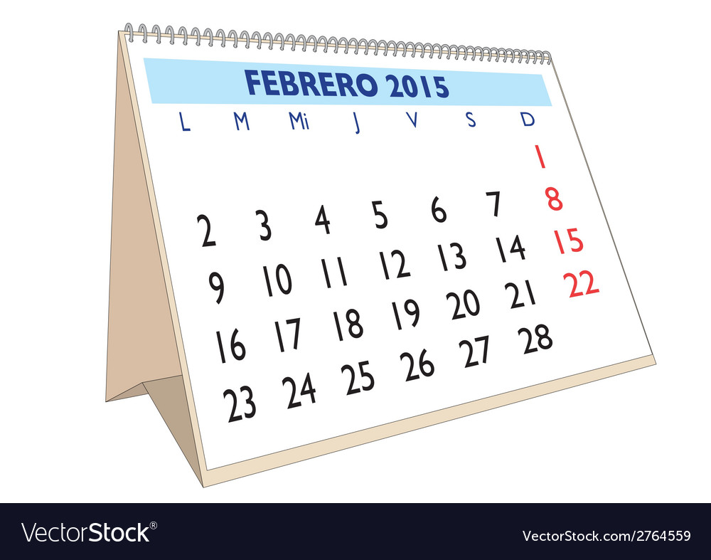 Febrero 2015 vector | Price: 1 Credit (USD $1)