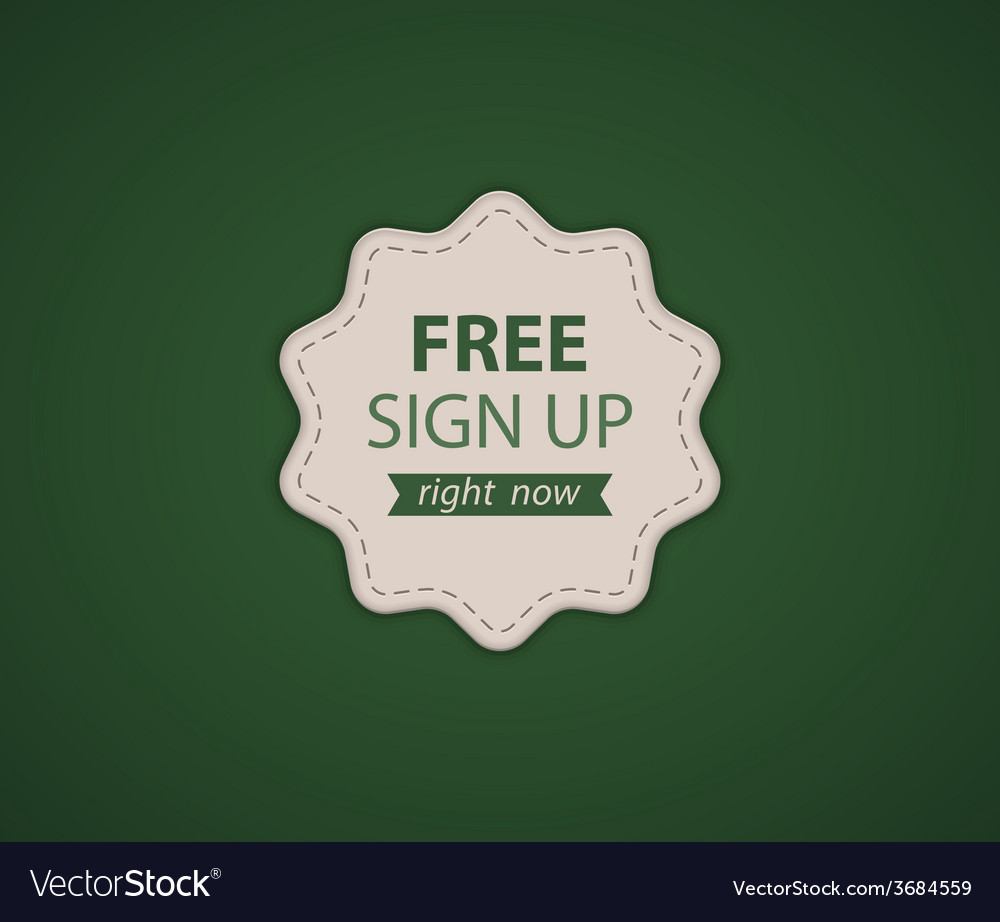 Free signup label vector | Price: 1 Credit (USD $1)