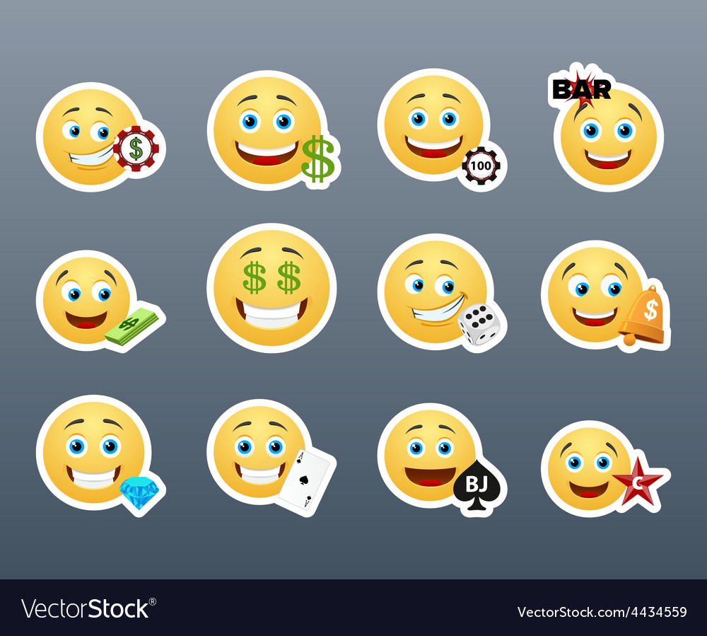 Gambling smilies vector | Price: 1 Credit (USD $1)