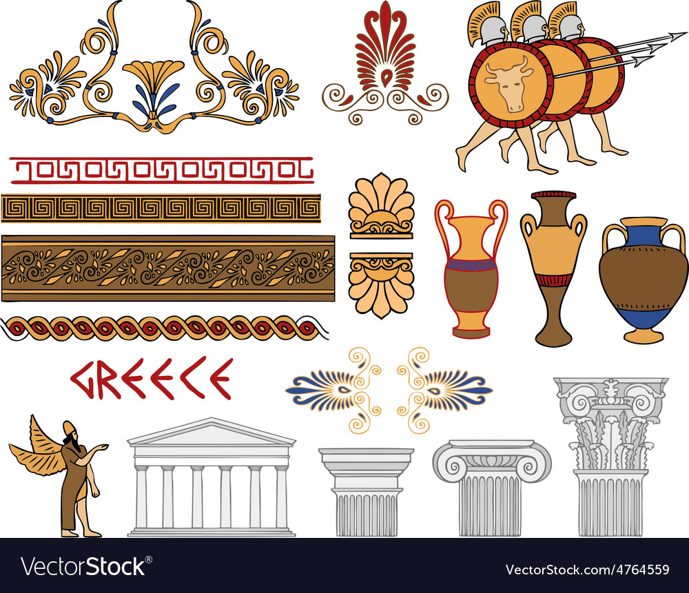 Greece architecture and ornaments color set vector | Price: 1 Credit (USD $1)