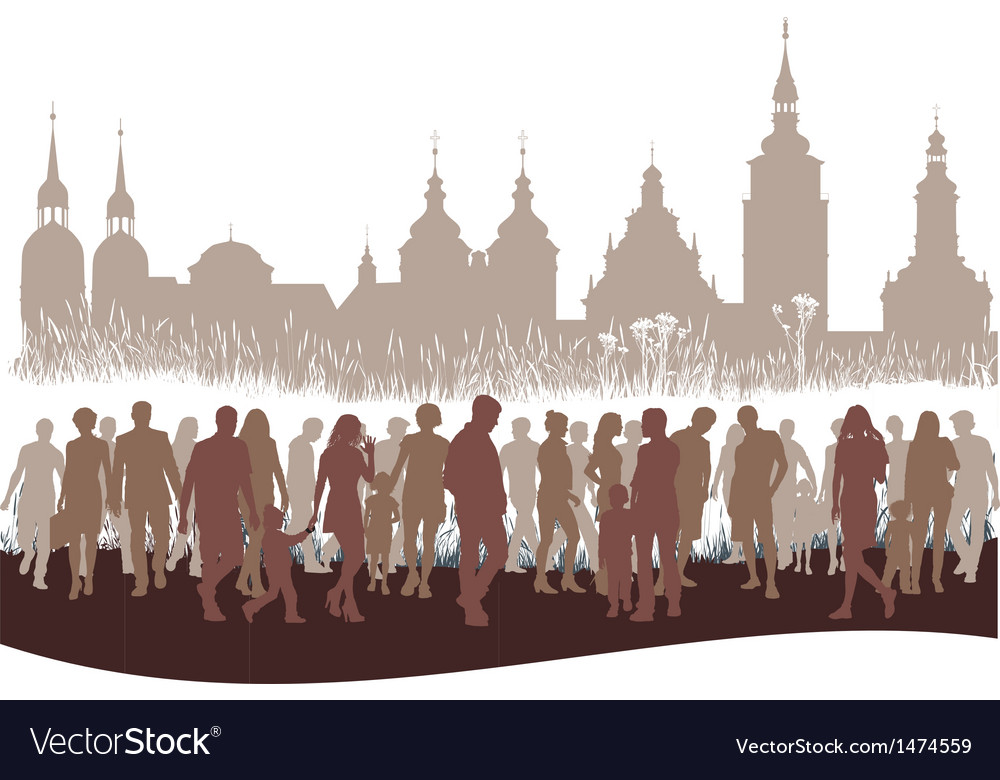 Group of people before city vector | Price: 1 Credit (USD $1)