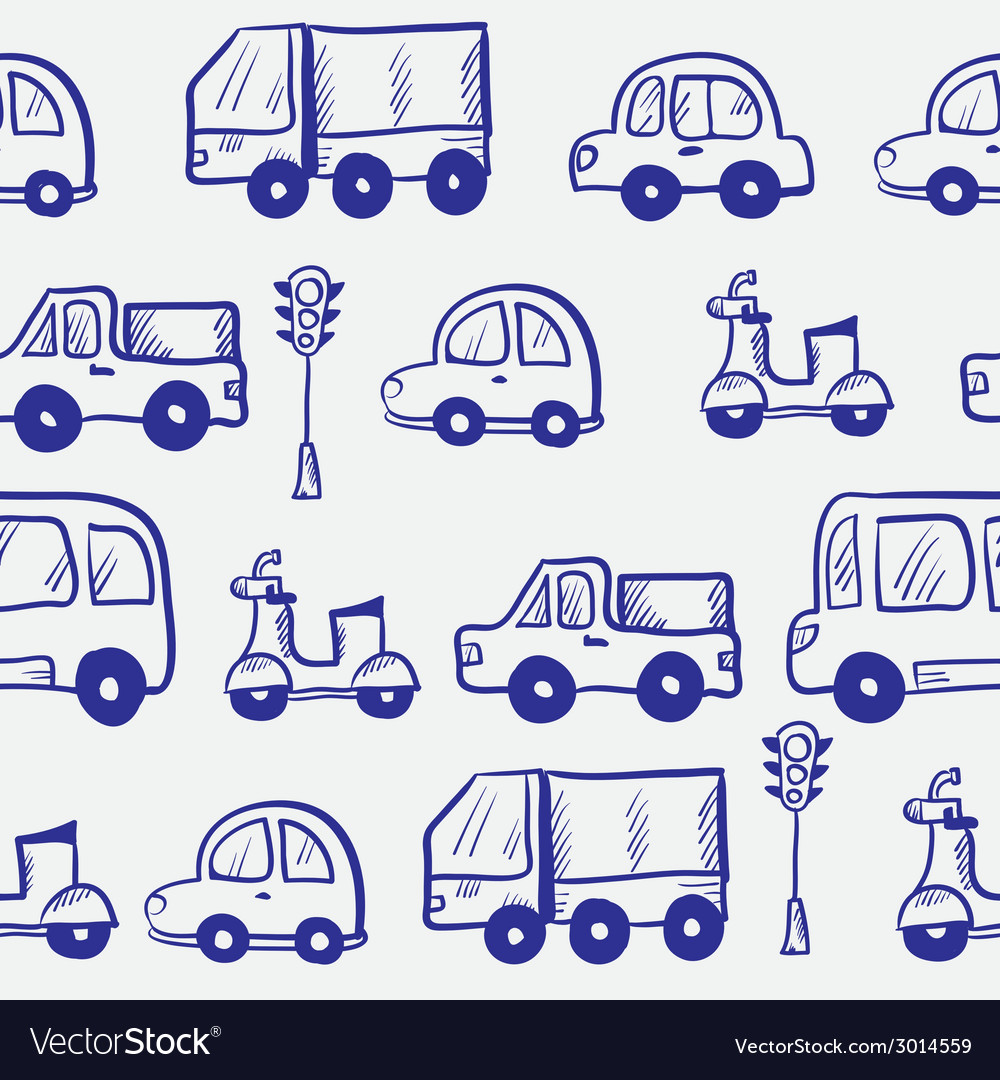 Hand drawn doodle cartoon cars seamless pattern vector | Price: 1 Credit (USD $1)