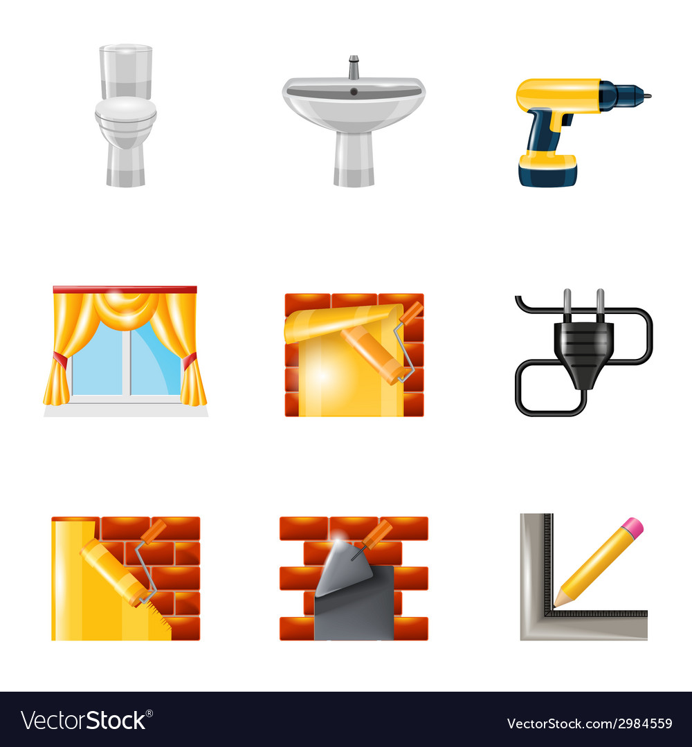 Home repair icons realistic vector | Price: 1 Credit (USD $1)
