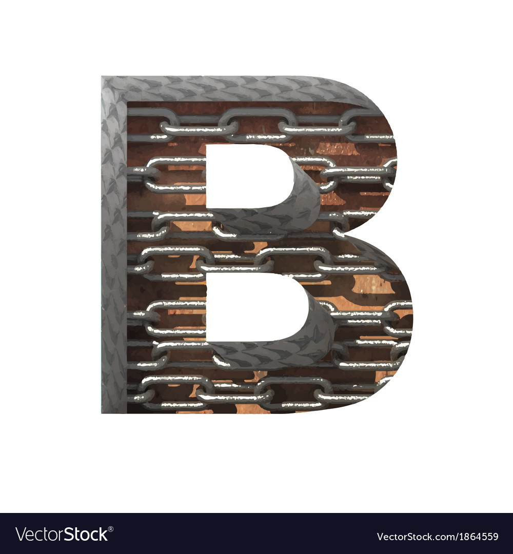 Metal cutted figure b paste to any background vector | Price: 1 Credit (USD $1)