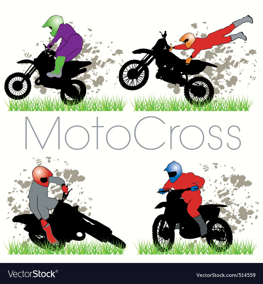 Motocross silhouettes set vector | Price: 1 Credit (USD $1)