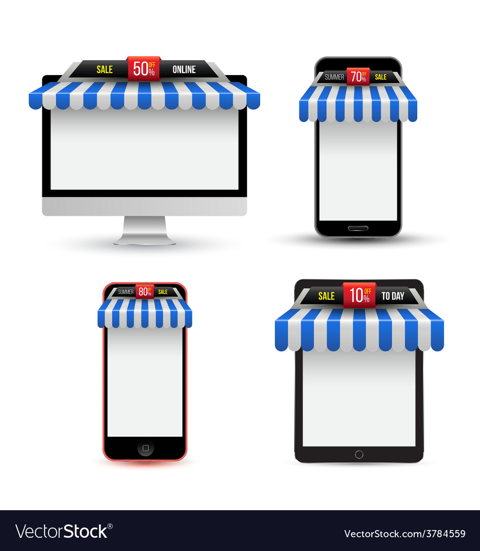On line store sale gadget with awning set vector