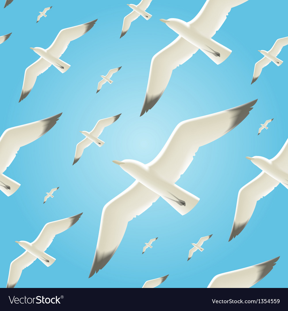 Seamless background with seagulls vector | Price: 3 Credit (USD $3)