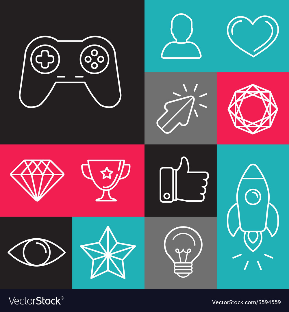 Set of line game icons vector | Price: 1 Credit (USD $1)