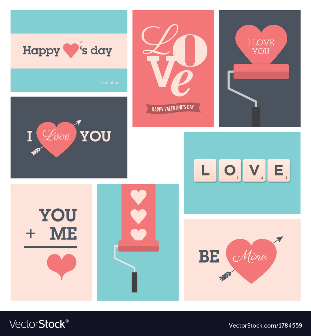 Set valentine cards vector | Price: 1 Credit (USD $1)
