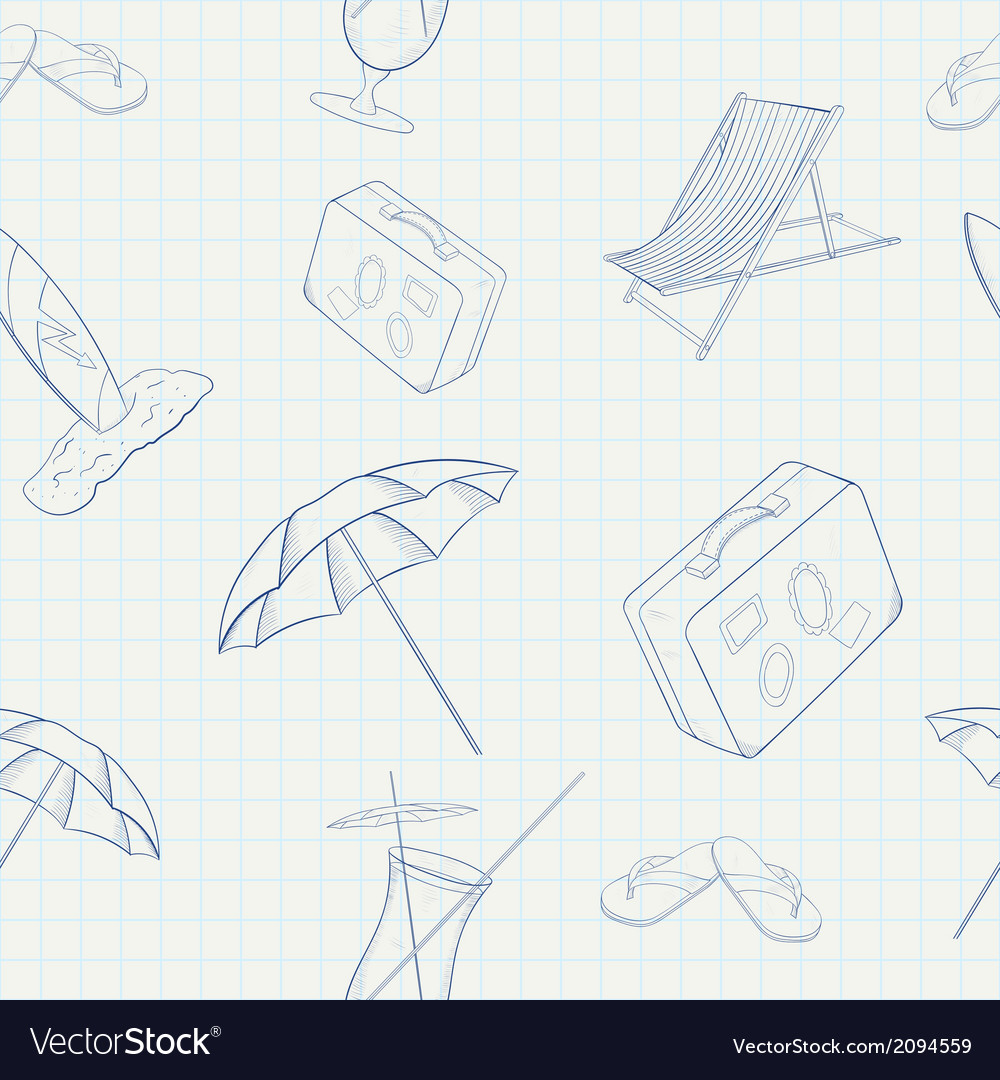 Summer holiday hand drawn seamless pattern vector | Price: 1 Credit (USD $1)