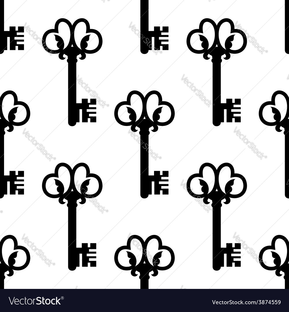 Vintage keys with floral ornament seamless pattern vector | Price: 1 Credit (USD $1)